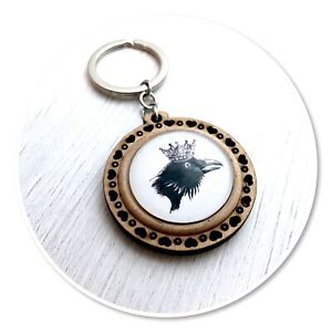 Black Crow Wooden  keyring key ring garden bird Raven