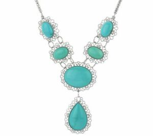 """QVC Bold Campitos Turquoise Sterling Silver Lace Design 18"""" Necklace"""