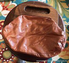 Cute Vintage 70's Tadora Rust Brown Leather Handbag Purse w Hinged Wood Handles