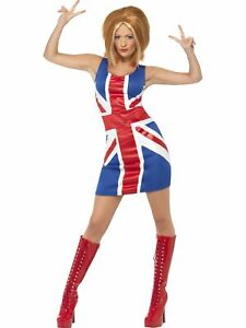 Ginger Power, 1990s Icon Costume, Red & Blue Union Jack Dress Women's costume