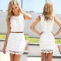 Fashion Women Lace Sleeveless Ball Gown Formal Evening Party Cocktail Mini Dress