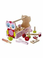 Wooden Toy Tool Box Tool Kit Owl Design for Kids Girls Quality Gift Present