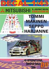 DECAL 1/43 MITSUBISHI LANCER EVO III T.MAKINEN SWEDISH R. 1996 WINNER (01)