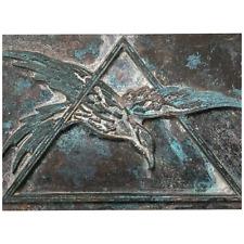 1 Fine Rare Bronze Freemason Masonic Lodge Federal Eagle Secret Triangle Plaque