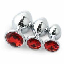 Plug anal metal joya diamante rojo 7 cm unisex sex toys juguete sexual anal