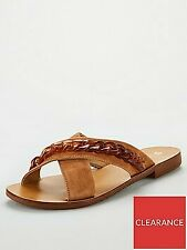 V by Very Hare Leather Tort Chain Cross Strap Sliders/ sandal - Tan- UK size 6