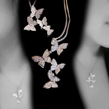 Women Unique Active Butterfly White Sapphire Pendant Necklace 925 Silver Jewelry