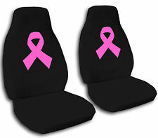 2 Front Black Velvet Seat Covers with a Hot Pink Ribbon