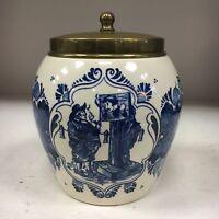 Vintage Blue Delft tobacco jar van Rossem's toeback Anno 1750
