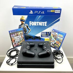 Sony PlayStation 4 Console 500GB Jet Black PS4 + 5 Games 2 Dualshock Controllers