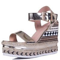 Womens Buckle Hessian Espadrille Platform Wedge Heel Sandals Shoes