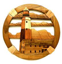 Montauk Point Lighthouse Intarsia Wood Wall Art Home Decor Plaque Seashore New