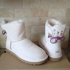 UGG ADORIA TEHUANO CANVAS MINI BAILEY BOW SHEEPSKIN BOOTS SIZE US 11 WOMENS LAST