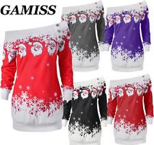 Womens Girls Santa Claus Christmas Xmas Sweatshirt Jumper Sweater Pullover Tops