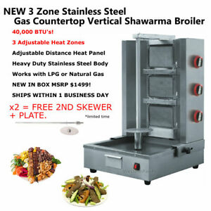 NEW Stainless Steel Gas Gyro Shawarma Machine / Vertical Grill Broiler Al Pastor