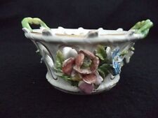Dresden painted porcelain china small basket-bowl modeled flowers Carl Thieme