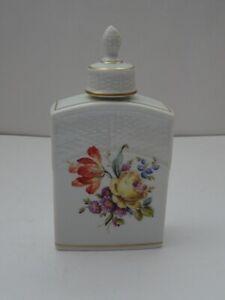 Ludwigsburger Porzellan Teedose Korbgeflecht H 14,5  Blütendekor 1. Wahl