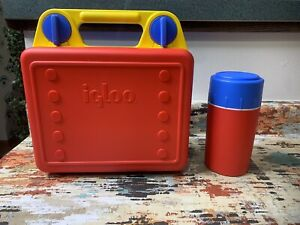 Vintage Igloo Lunch Box Cool Kase Case Red Yellow Blue Complete W/ Thermos