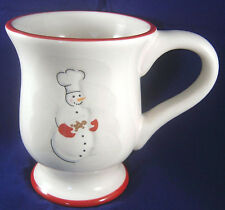 Williams-Sonoma Snowman Chef Gingerbread Man Footed White Mug Cup Coffee Tea Red