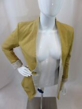 BROGDEN Yellow Leather Long Sleeve Blazer Jacket Women's Size S EUC