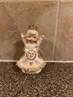 Lefton June Angel Figurine Spaghetti Trim Porcelain White Gold Japan Vintage