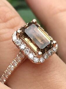 3.05 CT CHOCOLATE NATURAL DIAMOND Halo Engagement Ring Emerald Cut 14K Rose Gold