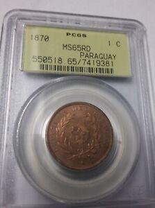 RARE PARAGUAY 1870 1 Centesimo PCGS MS 65 RD