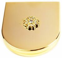 Slim 1:3x Magnified Compact Double-Sided Mirror (Gold Curve With Crystal Flower)