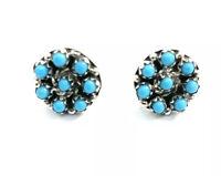 Native American sterling silver Zuni Handmade Post turquoise earrings