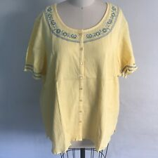 NEW Denim & Co Yellow Blue Embroidered Floral Blouse & Tank Set Plus 2X