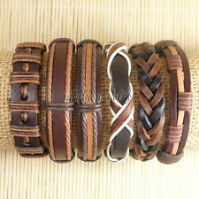 6pcs Mens Surfer Cuff Wholesale Lots Ethnic Tribal Genuine Leather Bracelet-D81