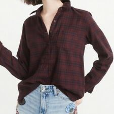 Abercrombie & Fitch Women's Popover Plaid Flannel Shirt Size Small