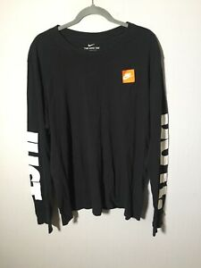 Nike Just Do It Mens Black Long Sleeve Graphic T Shirt Size XL Cotton Good Condt