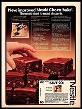 1981 Nestle Choco-bake Brownies Liquid Frosting Baking Recipe Vintage 1980s Ad