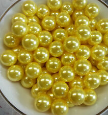 100pcs 20mm Yellow Pearl beads Chunky Bubblegum Beads US Seller