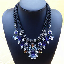Fashion Charm Pendant Chain Crystal Jewelry Choker Chunky Statement Bib Necklace Ns60 Blue