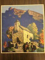 "Vintage Alps Bergkirche Print on Board, 12"" x 13 1/2"""