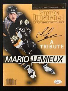 Mario Lemieux Signed Sports Illustrated 4/23/97 No Label Hockey Auto HOF JSA