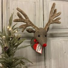 Rupert The Reindeer Head Wall Sculpture Decoration Fabric Stag Vintage Christmas