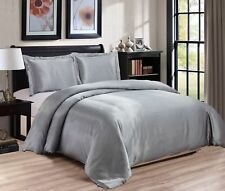 Chezmoi Collection 3-piece Bridal Satin Solid Color Duvet Cover Set