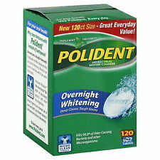 Polident Overnight Whitening Antibacterial Denture Cleanser Triple Mint 120 ct