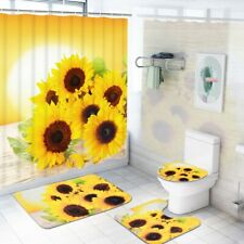 4PCS Bathroom Cover Set Sunflower Toilet Cover Bath Mat Rugs WC Cushion Bathmats