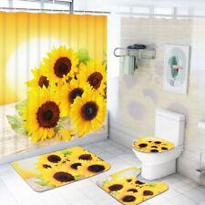 4PCS Bathroom Cover Set Sunflower Toilet Cover Bath Mat Rugs WC Cushion Bathmats