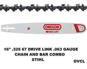 "GENUINE OREGON 16"" CHAINSAW BAR & CHAIN COMBO SUIT STIHL CHAINSAW .325 .063 67DL"