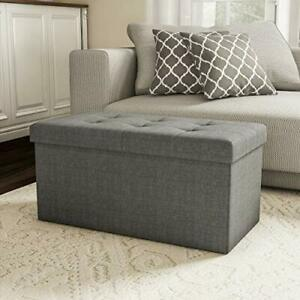 Lavish Home Storage Bench Ottoman Large Folding Tufted Foot Rest Organizer wi...