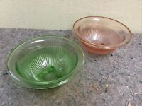 Two Depression Glass Mixing Bowls-Green-Pink-Same Size & Pattern