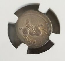 Roman Republic Q. Titius Denarius NGC Choice VF Ancient Silver Coin