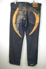 "RARE Evisu Jeans Dark Blue Crane Bird Wings Straight Leg Sz 36 31.5""L"