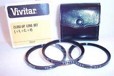 Vivitar 55 mm NEW Coated Close-Up Lens Set (#1,#2,#4)  w Case/Box Japan (K-254)