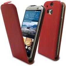 Caseink – Coque Etui Pour HTC One M8 Rabat Premium [ Flip Vertical ] Rouge
